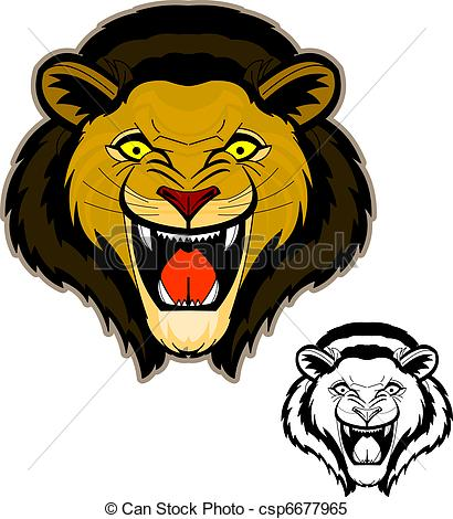 Clipart Vector of Roaring Lion Head Mascot.