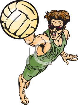 Intense Beach Volleyball Player.