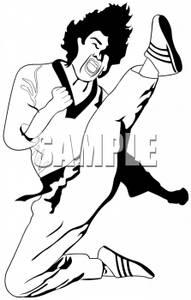 Clipart of a Intense Karate Kick.