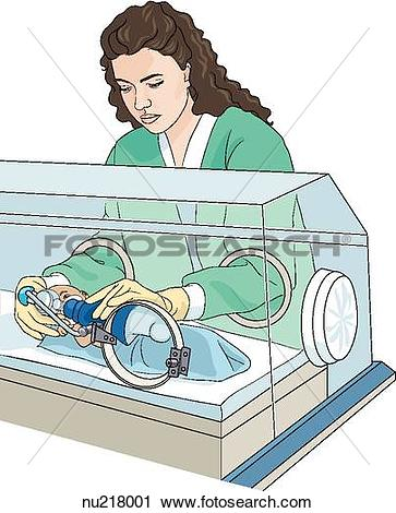 Clipart of Infant in intensive care incubator. Nurse places gloved.