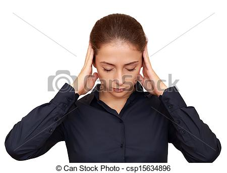 Stock Photographs of Business woman thinking intensive with.