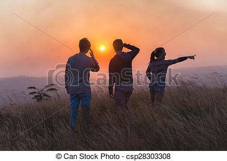 Stock Photography of People Rural Sunset Landscape.