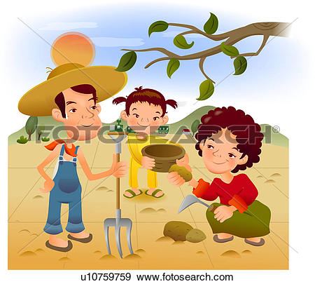 Stock Illustration of rural, wife, countryside, outdoors, daughter.