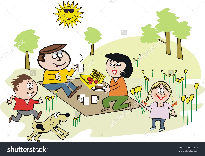 Vector Cartoon Happy Family Enjoying Picnic Stock Illustration.