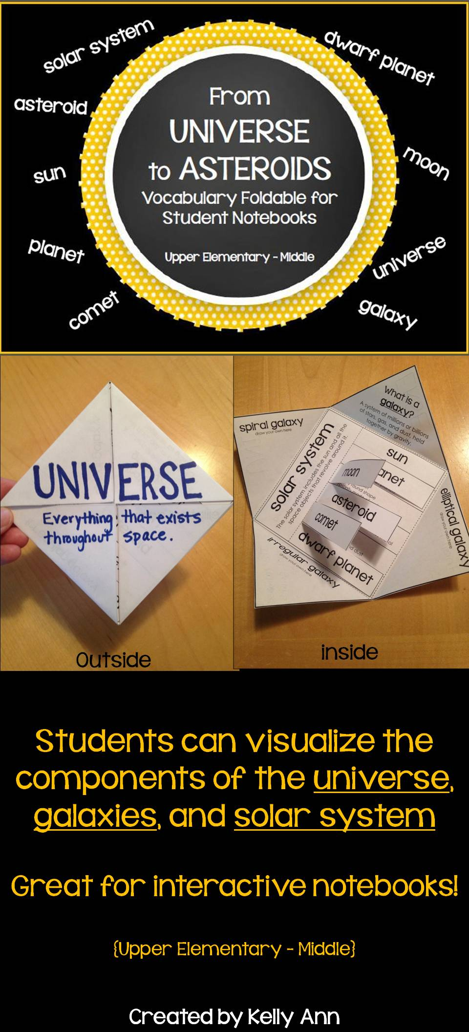 Space Vocabulary Foldable Activity.