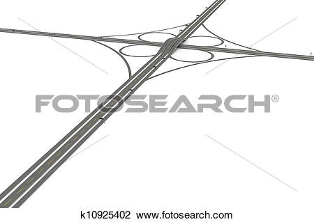 Clip Art of Highway Interchange k10925402.