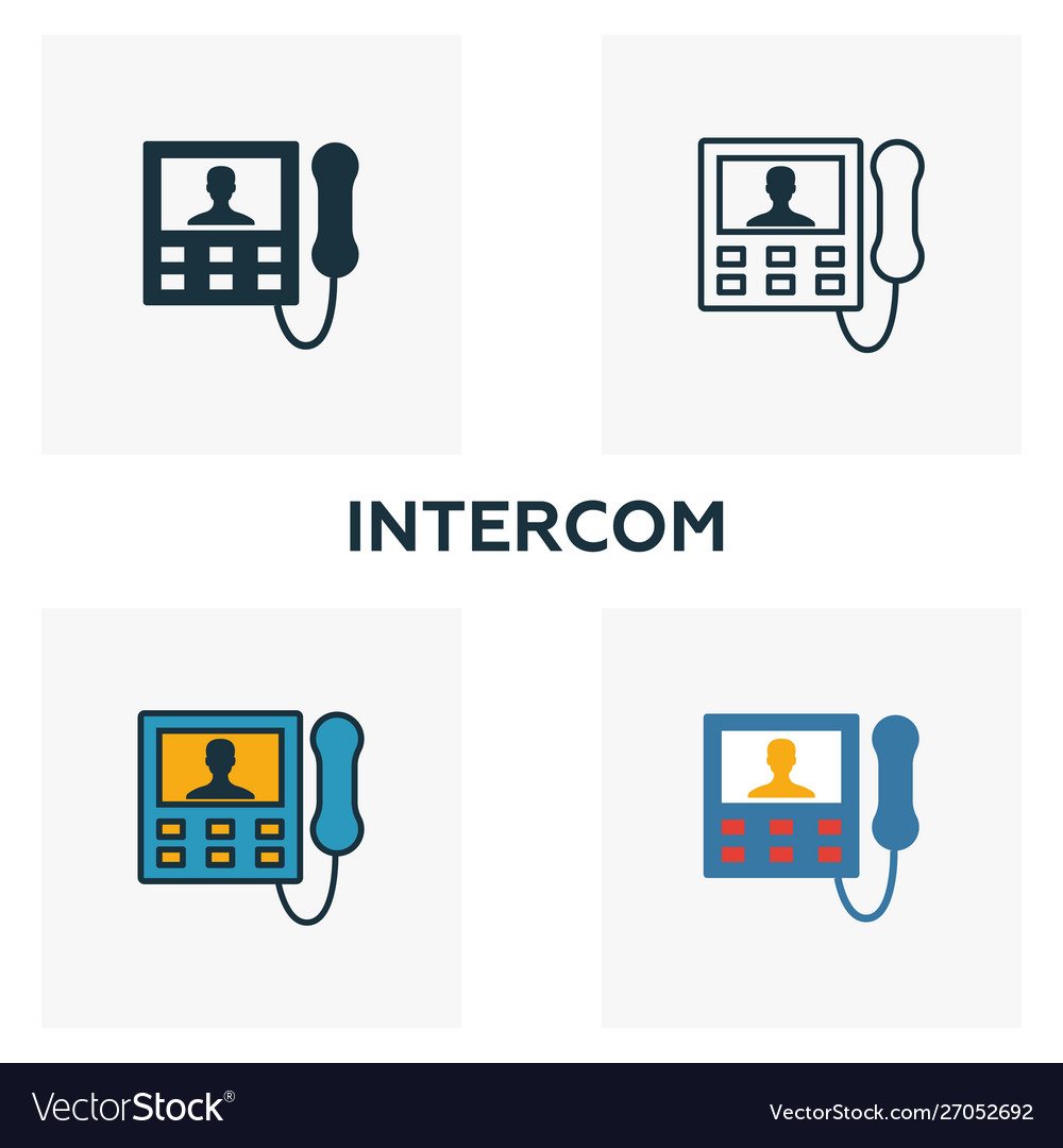 Intercom icon set four elements in diferent.
