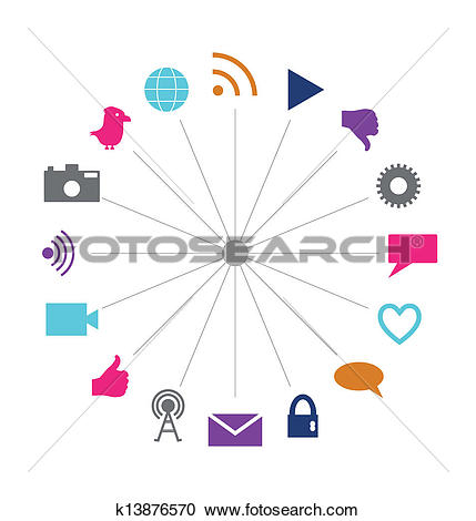 Clipart of Social technology and media interconnected circle.