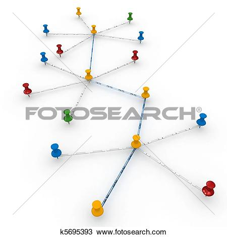 Drawing of 3d push pins interconnected concept network k5695393.