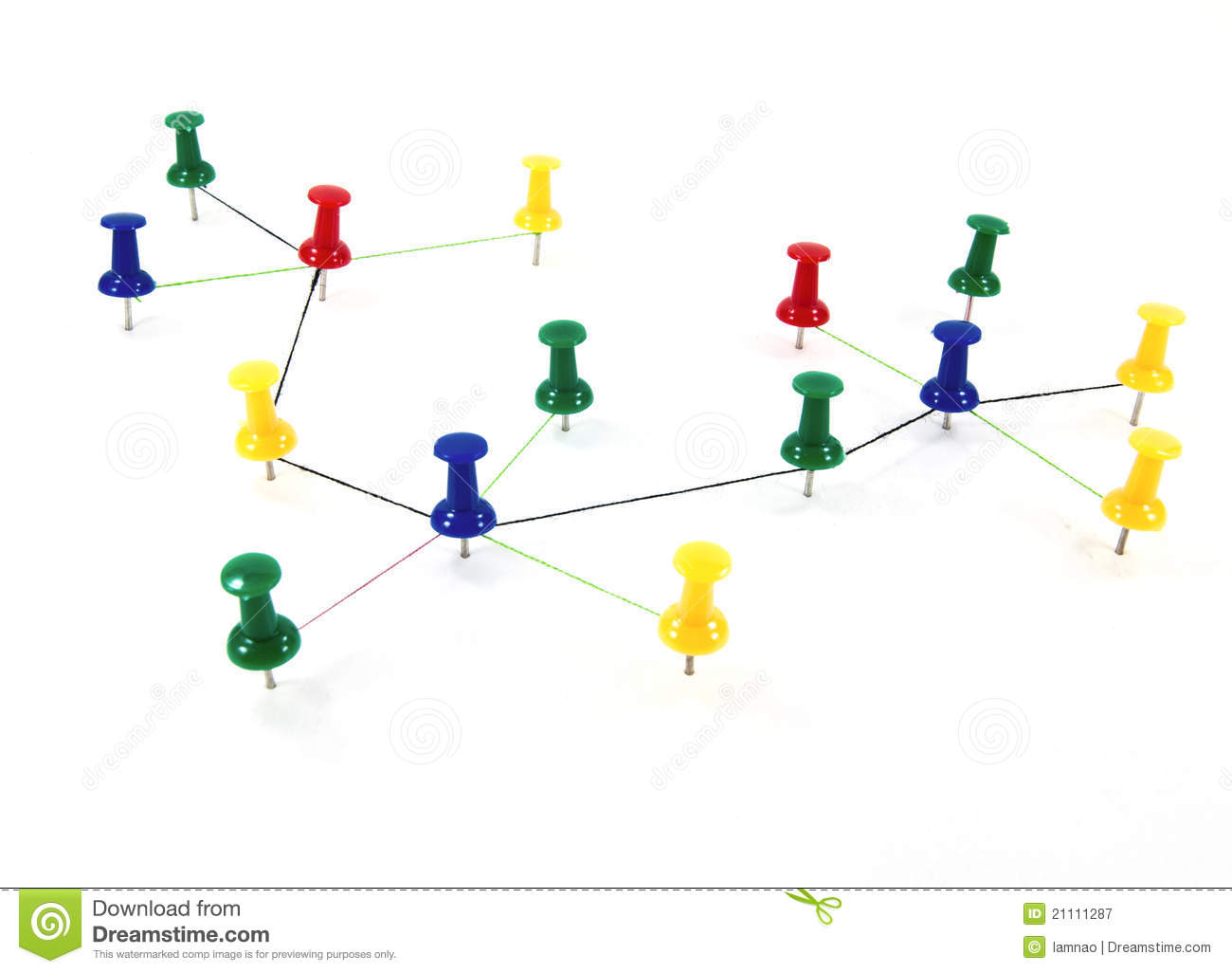 Push Pins Interconnected Concept Network Royalty Free Stock.