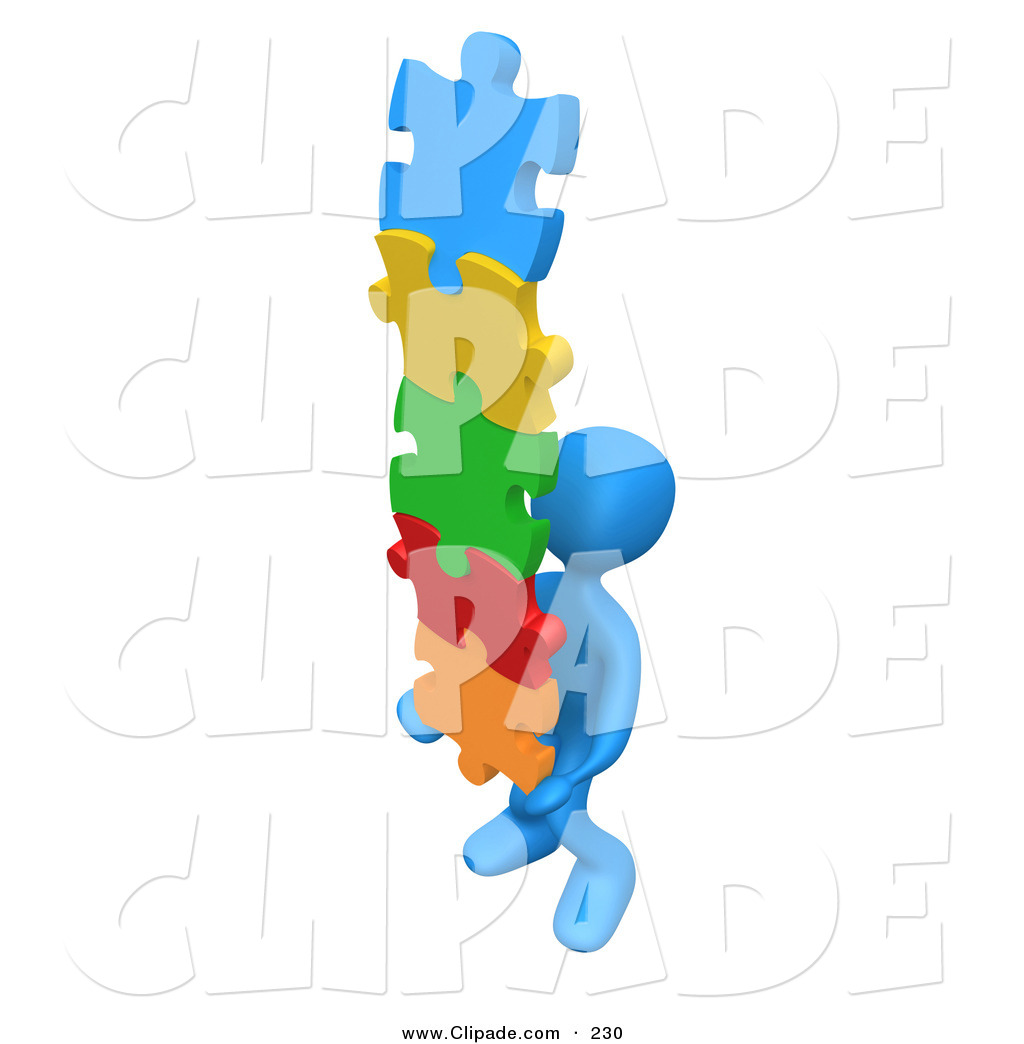 solution clipart clip art of a 3d blue person carrying a stack of.