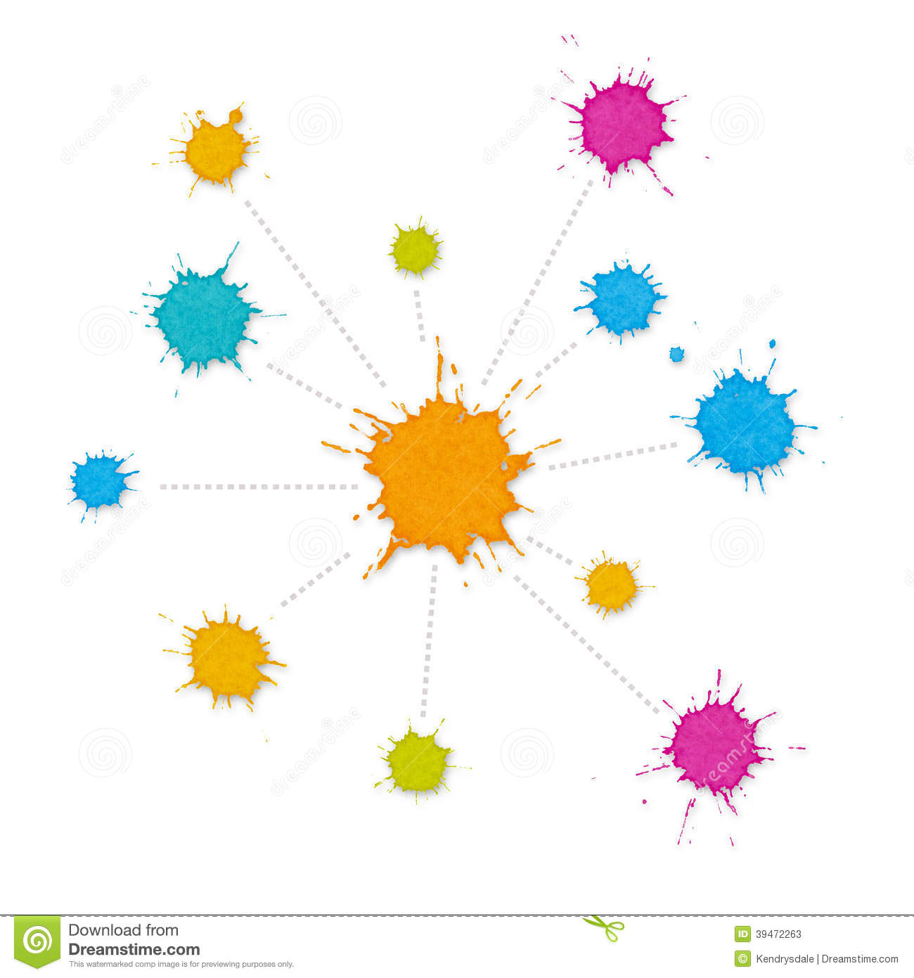 Infographic Interconnected Network Of Paint Splashes Stock.
