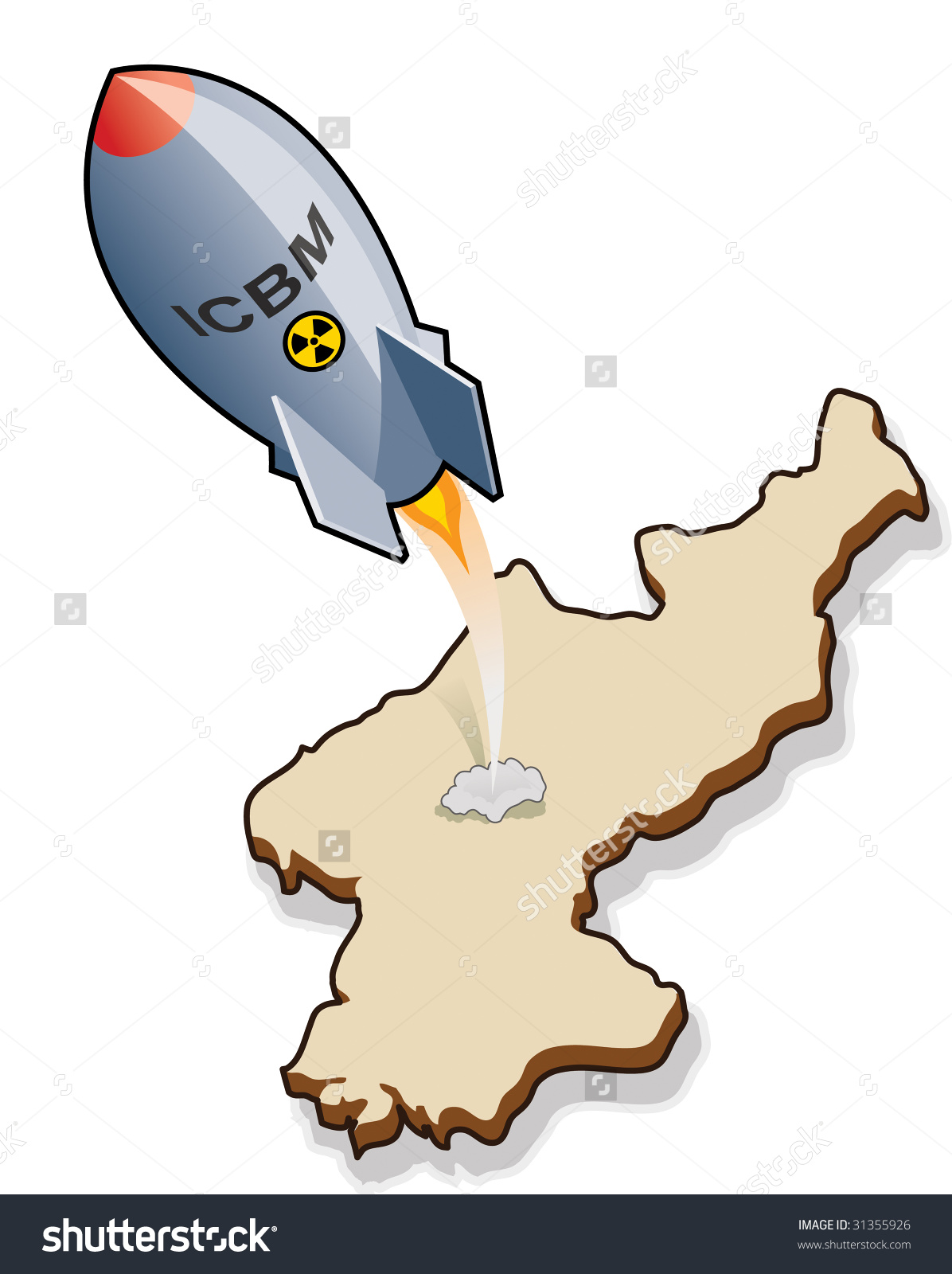 Icbm Intercontinental Ballistic Missile Launching Stock Vector.