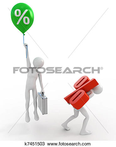 Stock Illustrations of Powerful businessman lift interest rate.