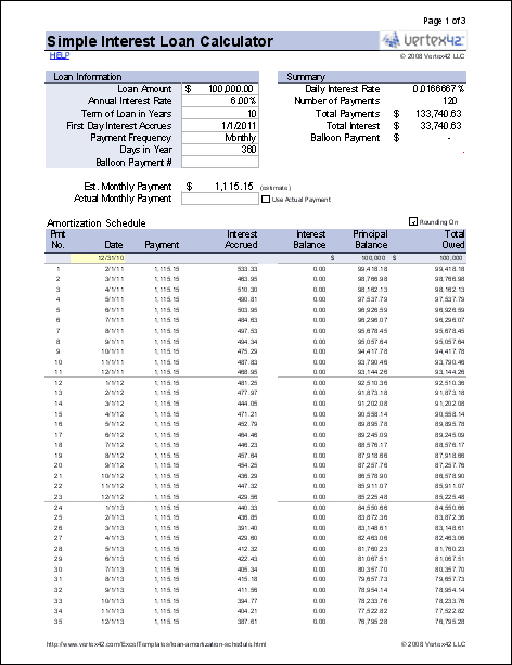 Free Simple Interest Loan Calculator for Mortgage and Amortization.