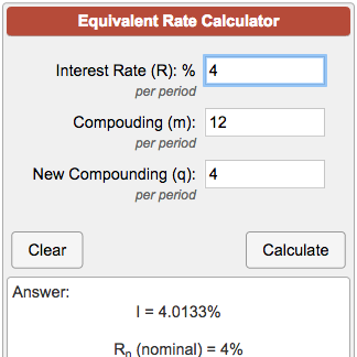 Equivalent Interest Rate Calculator.