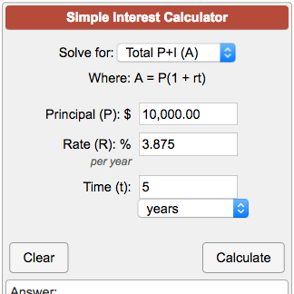 Simple Interest Calculator A = P(1 + rt).