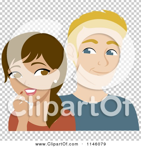 Clipart of a Thoughtful Hispanic Woman and Interested Blond Man.