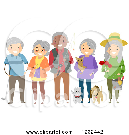 Clipart of a Diverse Group of Elderly Friends Showing Their.