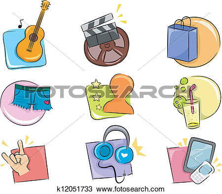 Clipart of Hobbies and Interests Icon Design Elements k12051733.