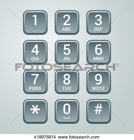 Clipart of User interface keypad for phone. Vector k18975814.