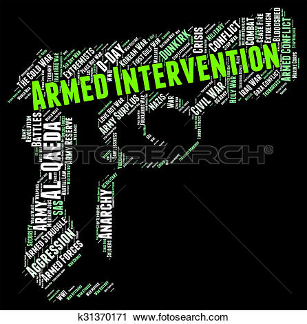 Clipart of Armed Intervention Represents Intrusion Interference.