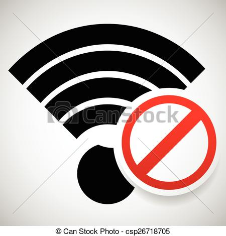 Vector Clipart of No Signal Sign. Bad antenna, No Internet.