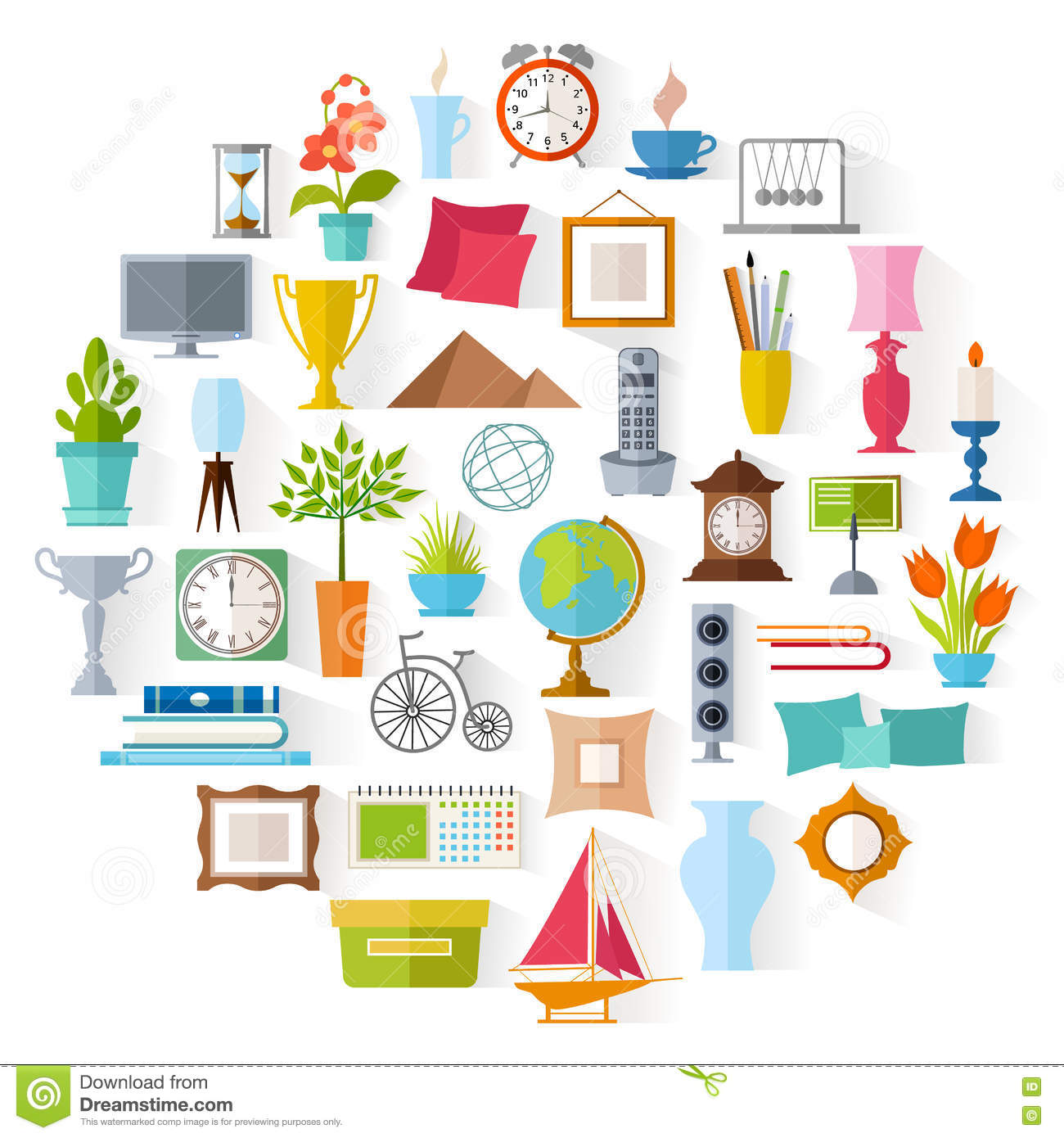 Vector Home Decor. Interior Design. Stock Vector.
