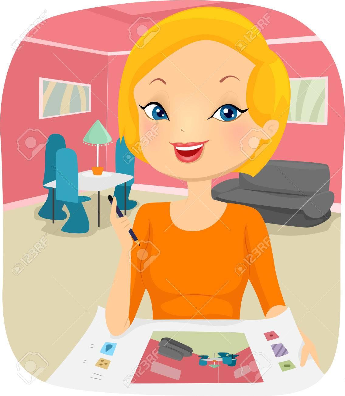 Illustration of a Female Interior Designer Planning the Design...
