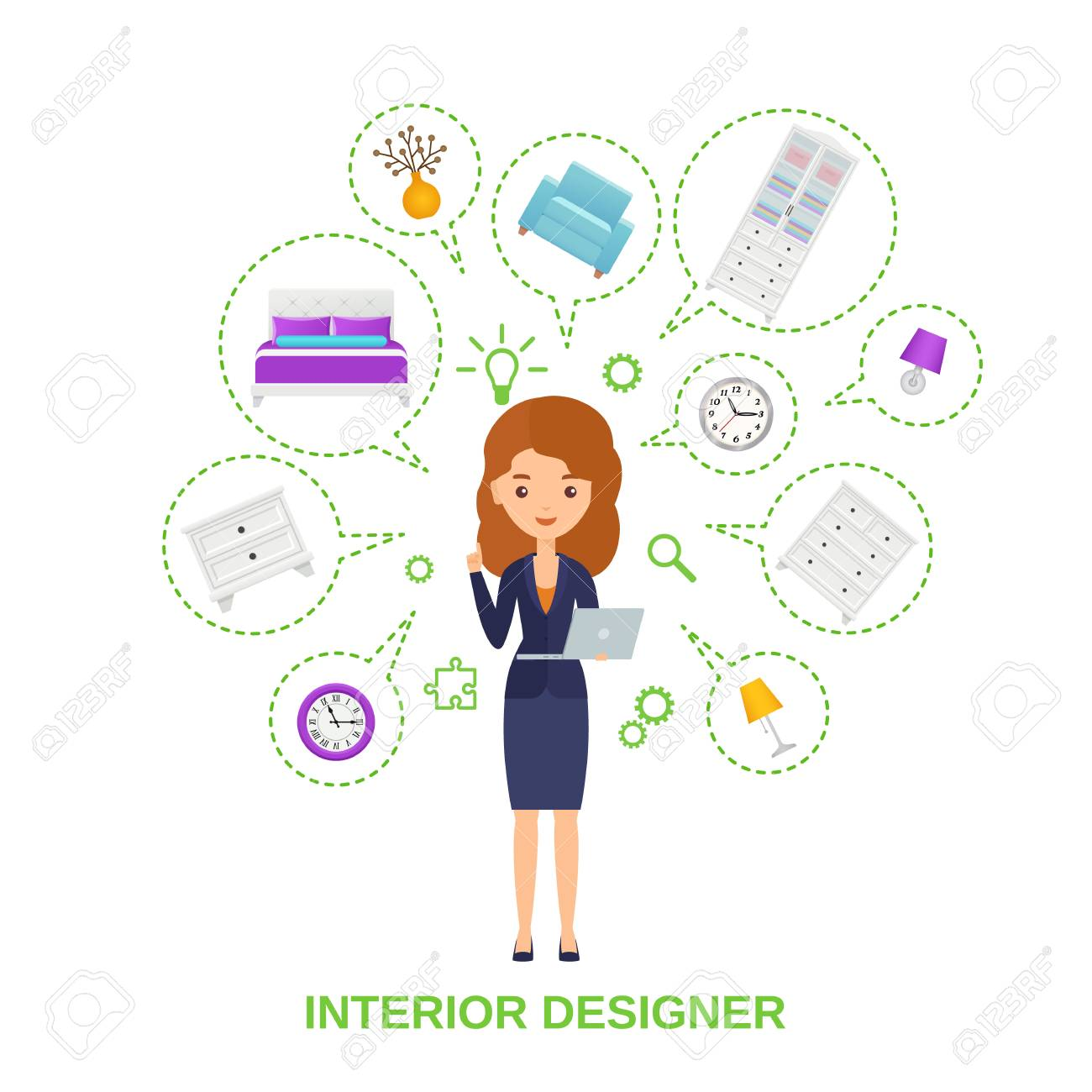 Female interior designer with furniture around in speech bubbles.