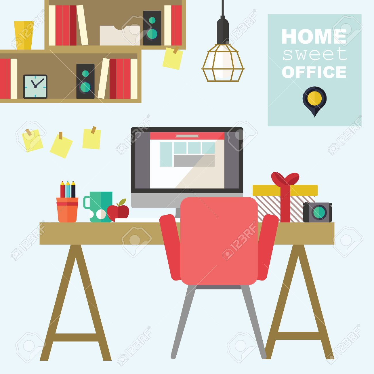 Home office flat interior design illustration.