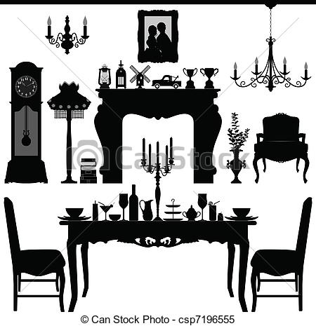 Clipart Vector of Dining Furniture Old Antique.