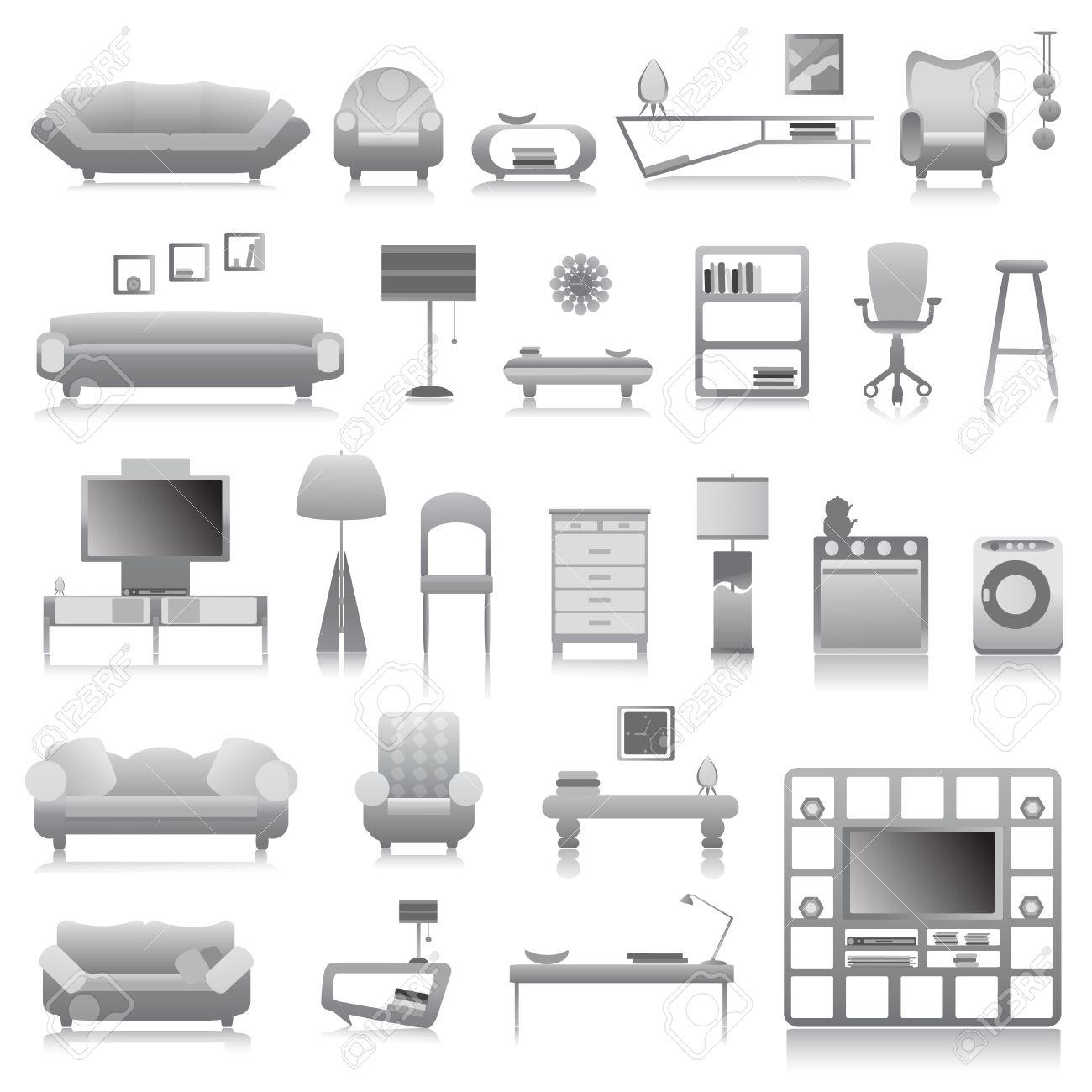 Art Small Interior : Office Furniture Clipart.