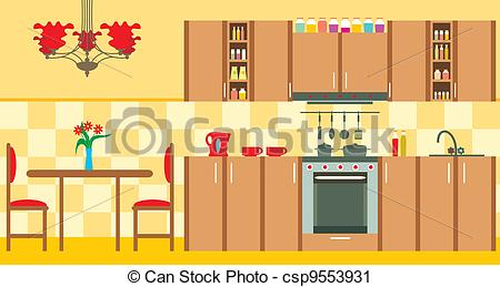 Vector Clip Art of Kitchen furniture. Interior.