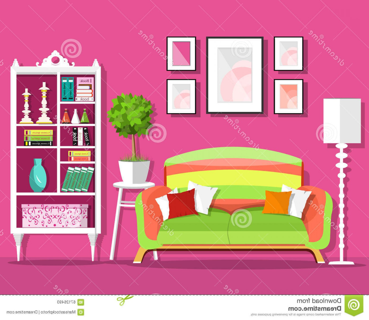 Living Room Clip Art: Room With Flowers Clipart