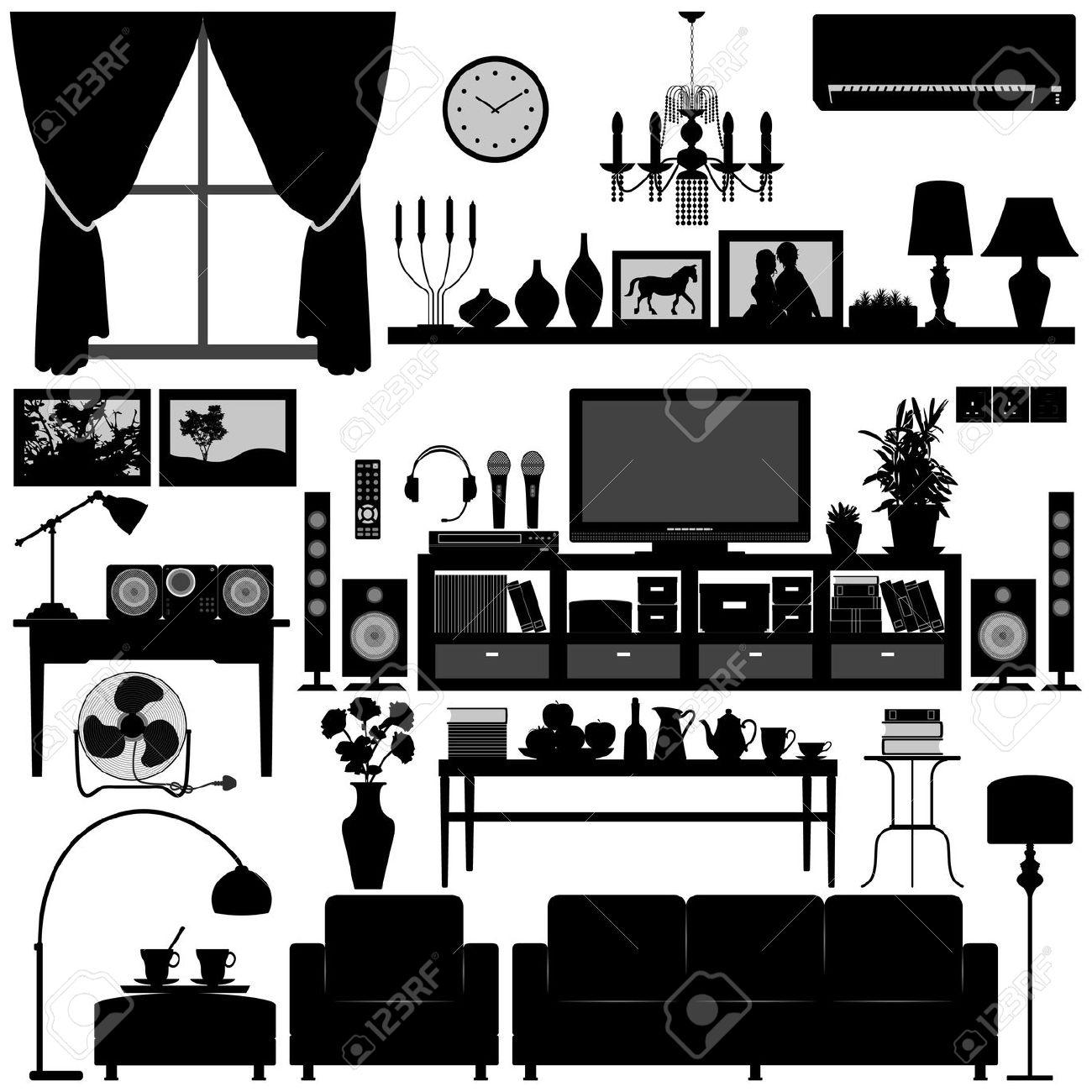 Home interior clipart design.