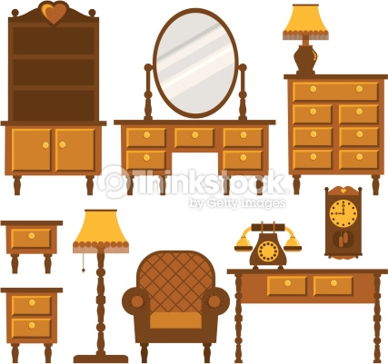 Old Furniture Vector Art.