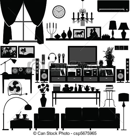 Clipart Vector of Living Room Furniture Home Interior.