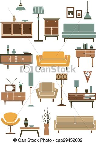 Vector Clipart of Home interior accessories and furniture.