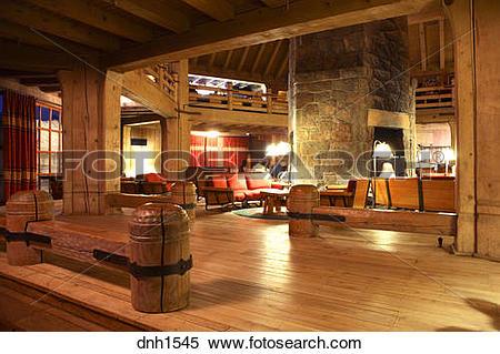 Stock Image of Interior shot of Timberline Lodge, Mt. Hood, Oregon.