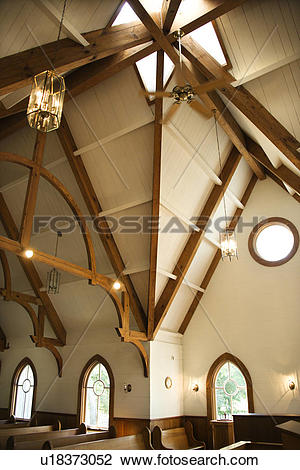 Stock Photo of Interior shot of a church at Bald Head Island.