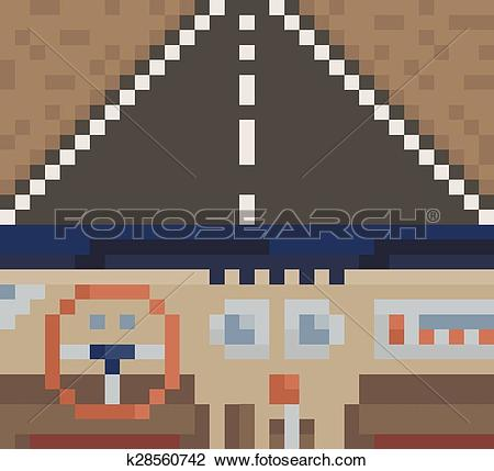 Clipart of Car interior. View from inside of the car. vector pixel.