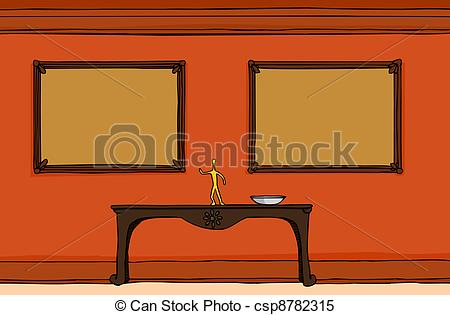 Clipart Vector of Hallway With Empty Frames.