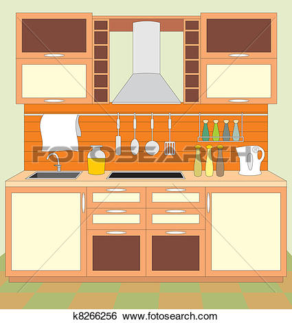 Clip Art of Kitchen furniture. Interior k8266256.