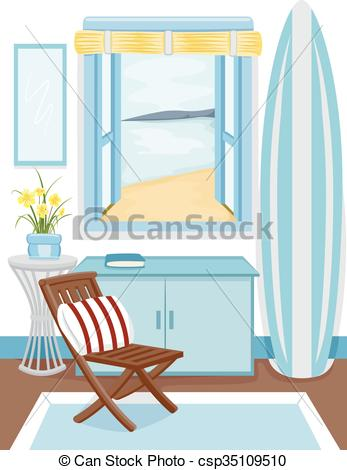Vector Clip Art of Beach Cabin Interior Window View.
