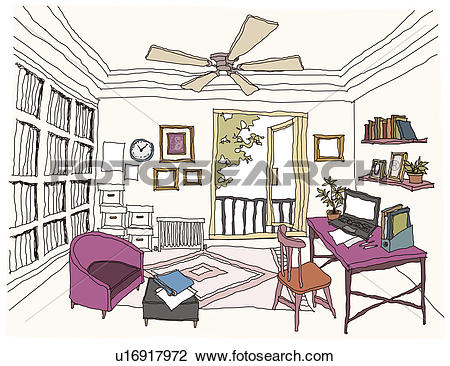 Clip Art of Study Room interior u16917972.