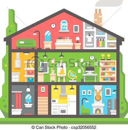 Clipart Vector of Flat design home interior side view illustration.