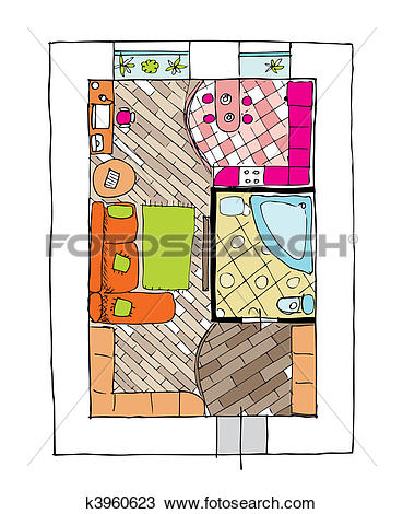 Clipart of Interior design apartments.