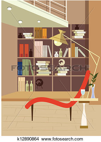 Clipart of Interior view of a reading room k12890864.