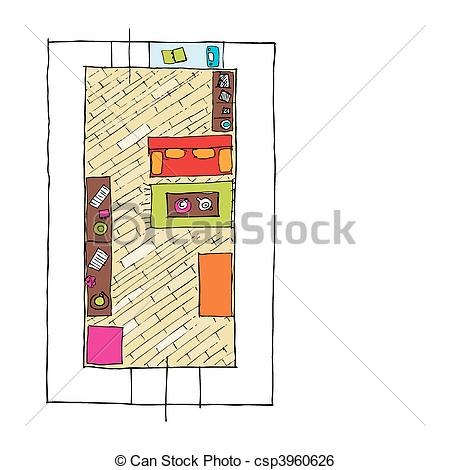 Clip Art Vector of Interior design apartments.